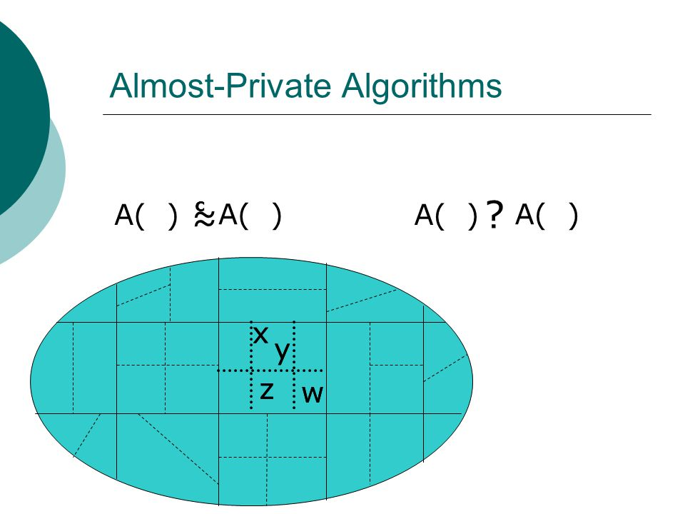 Almost-Private Algorithms x y A( ) ≈ c w z x y z w