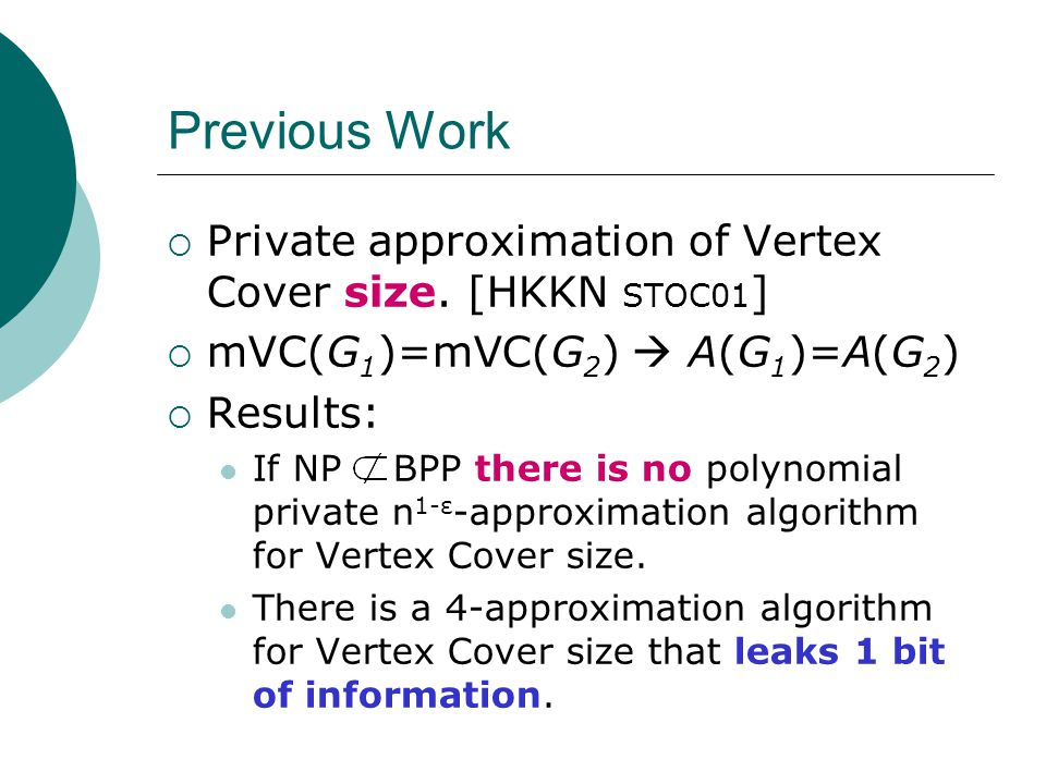  Definitions and Previous Work  Impossibility Result for Vertex Cover  Algorithms that Leak (Little) Information Positive Result for MAX-3SAT  Conclusions and Open Problems Talk Overview