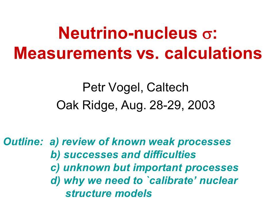 Neutrino-nucleus  : Measurements vs. calculations Petr Vogel, Caltech Oak Ridge, Aug.