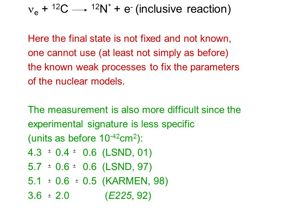 e + 12 C 12 N * + e - (inclusive reaction) Here the final state is not fixed and not known, one cannot use (at least not simply as before) the known weak processes to fix the parameters of the nuclear models.