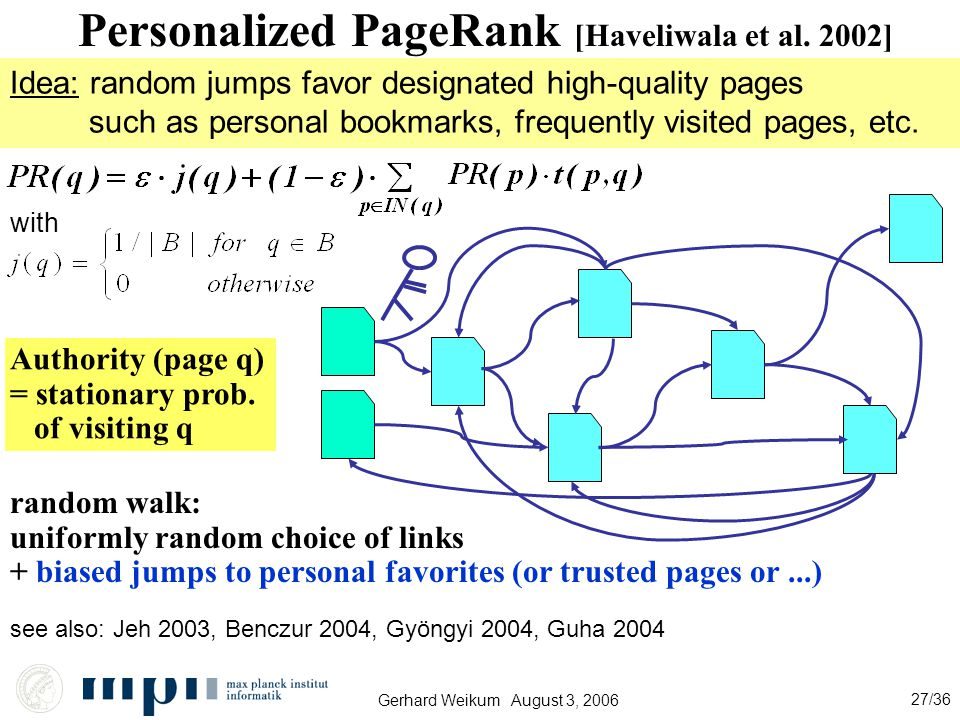 Gerhard Weikum August 3, 2006 27/36 Personalized PageRank [Haveliwala et al.