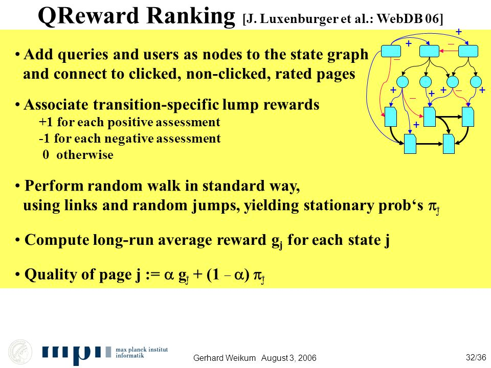 Gerhard Weikum August 3, 2006 32/36 QReward Ranking [J.