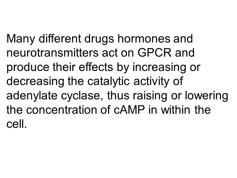Many different drugs hormones and neurotransmitters act on GPCR and produce their effects by increasing or decreasing the catalytic activity of adenylate cyclase, thus raising or lowering the concentration of cAMP in within the cell.