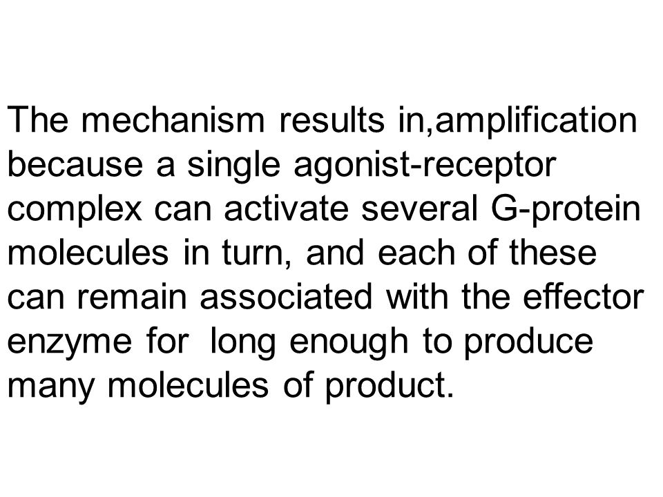 The mechanism results in,amplification because a single agonist-receptor complex can activate several G-protein molecules in turn, and each of these can remain associated with the effector enzyme for long enough to produce many molecules of product.