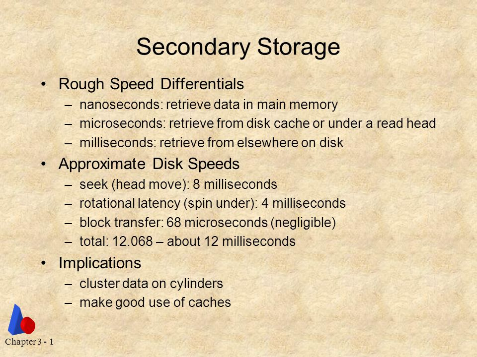 Chapter 3 - 1 Secondary Storage Rough Speed Differentials –nanoseconds: retrieve data in main memory –microseconds: retrieve from disk cache or under a read head –milliseconds: retrieve from elsewhere on disk Approximate Disk Speeds –seek (head move): 8 milliseconds –rotational latency (spin under): 4 milliseconds –block transfer: 68 microseconds (negligible) –total: 12.068 – about 12 milliseconds Implications –cluster data on cylinders –make good use of caches