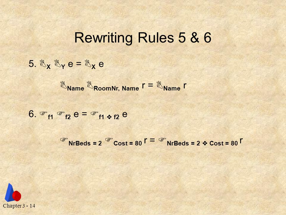 Chapter 3 - 14 Rewriting Rules 5 & 6 5.  X  Y e =  X e  Name  RoomNr, Name r =  Name r 6.