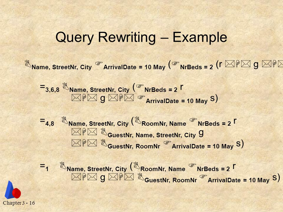 Chapter 3 - 16 Query Rewriting – Example  Name, StreetNr, City  ArrivalDate = 10 May (  NrBeds = 2 (r  g  s)) = 3,6,8  Name, StreetNr, City (  NrBeds = 2 r  g   ArrivalDate = 10 May s) = 4,8  Name, StreetNr, City (  RoomNr, Name  NrBeds = 2 r   GuestNr, Name, StreetNr, City g   GuestNr, RoomNr  ArrivalDate = 10 May s) = 1  Name, StreetNr, City (  RoomNr, Name  NrBeds = 2 r  g   GuestNr, RoomNr  ArrivalDate = 10 May s)