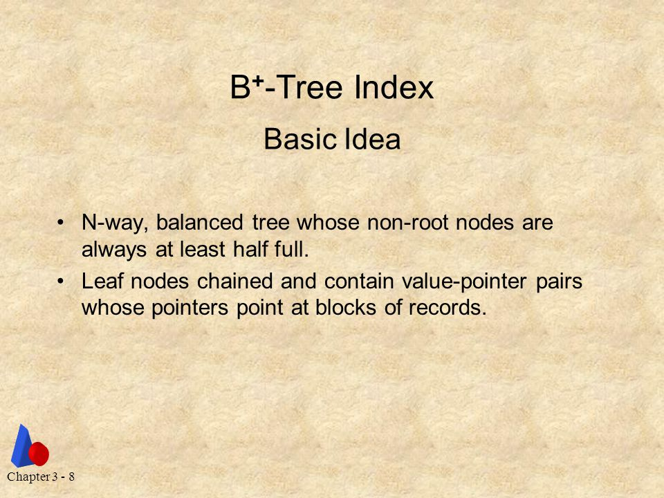 Chapter 3 - 8 B + -Tree Index N-way, balanced tree whose non-root nodes are always at least half full.