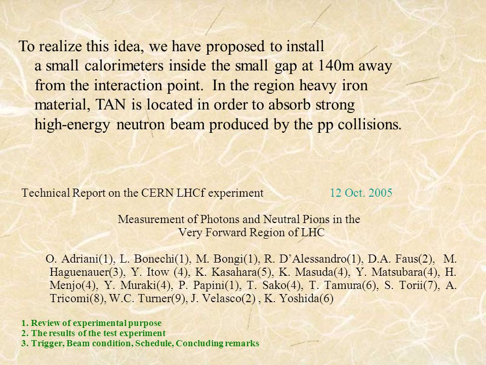 Technical Report on the CERN LHCf experiment 12 Oct.