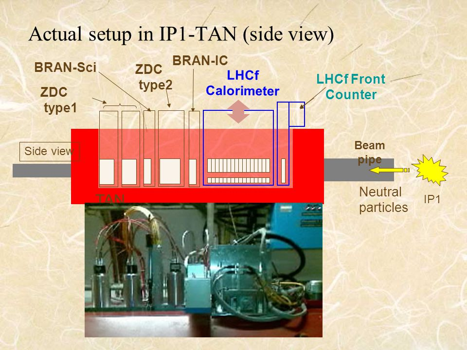 Actual setup in IP1-TAN (side view) LHCf Front Counter LHCf Calorimeter BRAN-IC ZDC type1 IP1 ZDC type2 Beam pipe TAN Neutral particles Side view BRAN-Sci