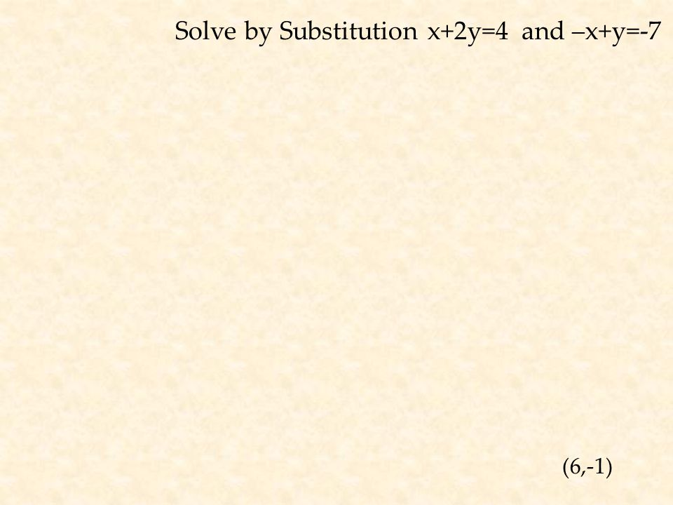 Solve by Substitution x+2y=4 and –x+y=-7 (6,-1)
