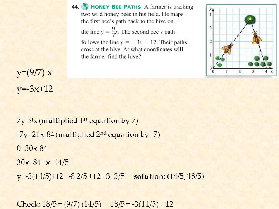 y=(9/7) x y=-3x+12 7y=9x (multiplied 1 st equation by 7) -7y=21x-84 (multiplied 2 nd equation by -7) 0=30x-84 30x=84 x=14/5 y=-3(14/5)+12= -8 2/5 +12= 3 3/5 solution: (14/5, 18/5) Check: 18/5 = (9/7) (14/5) 18/5 = -3(14/5) + 12