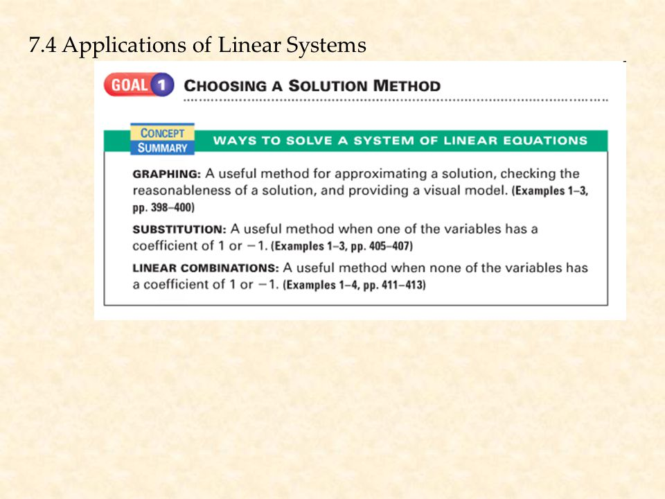 7.4 Applications of Linear Systems