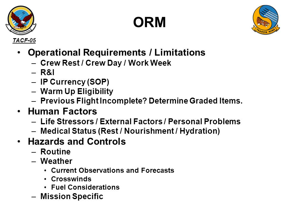 TACF-05 –A/C - ATC C/S - Tactical C/S - Crew –Brief / Walk / Marshal / Takeoff / Land Times –ATC Clearance / IFF –Area –Line / T/O / Abort / RPM –Comm Plan - Tac –Nav Plan –LCLS –Joker / Bingo ADMIN (card)