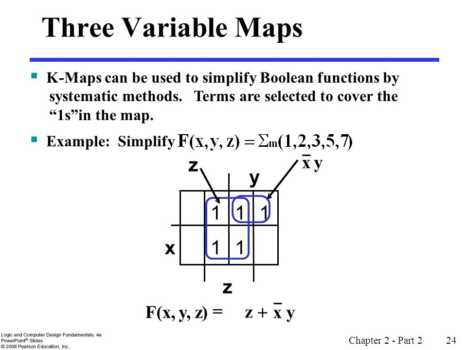 Chapter 2 - Part 2 24 Three Variable Maps z)y,F(x,  y 11 x z 11 1 z z yx  yx  K-Maps can be used to simplify Boolean functions by systematic methods.