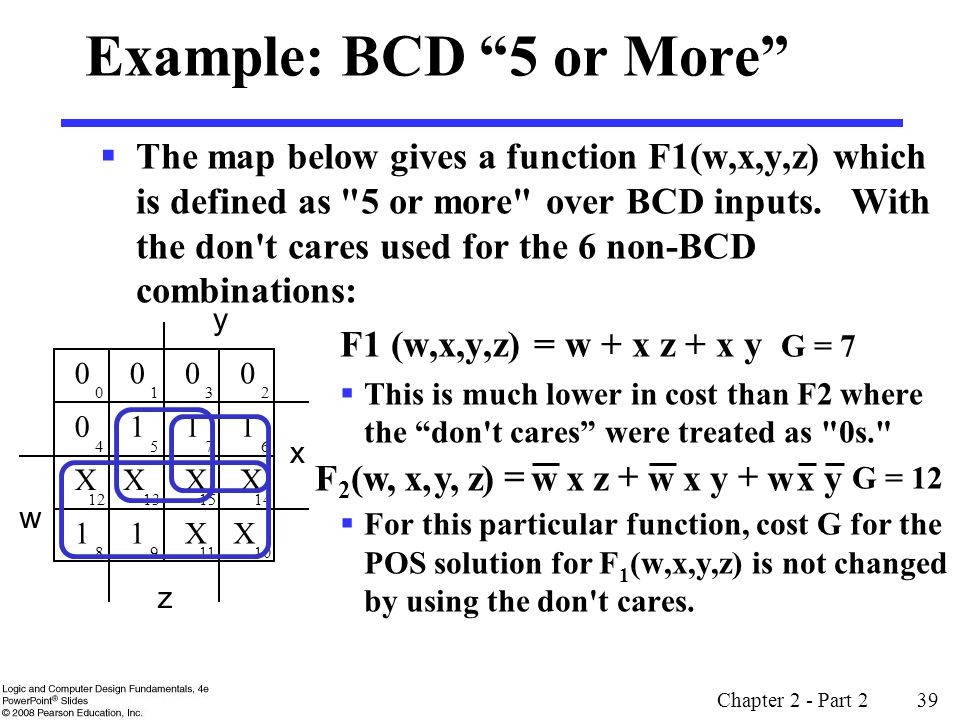 Chapter 2 - Part 2 39 Example: BCD 5 or More  The map below gives a function F1(w,x,y,z) which is defined as 5 or more over BCD inputs.