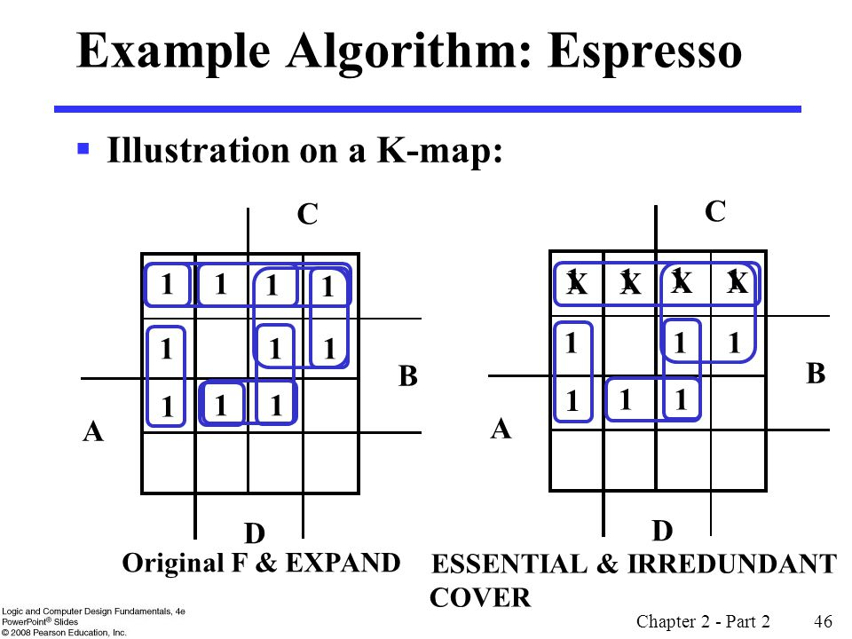 Chapter 2 - Part 2 46 X X X X 1 1 1 1 Example Algorithm: Espresso  Illustration on a K-map: 1 1 1 B D A C 1 1 1 1 11 1 Original F & EXPAND B D A C 1 1 1 11 1 ESSENTIAL & IRREDUNDANT COVER