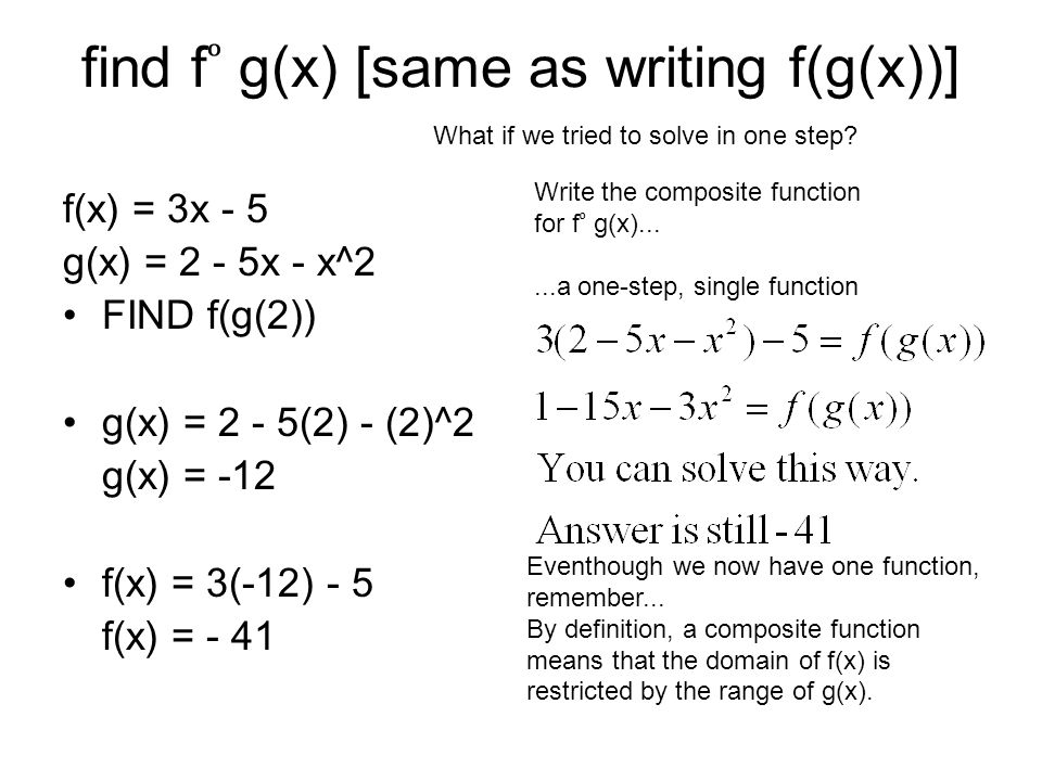 find f g(x) [same as writing f(g(x))] f(x) = 3x - 5 g(x) = 2 - 5x - x^2 FIND f(g(2)) g(x) = 2 - 5(2) - (2)^2 g(x) = -12 f(x) = 3(-12) - 5 f(x) = - 41 Eventhough we now have one function, remember...