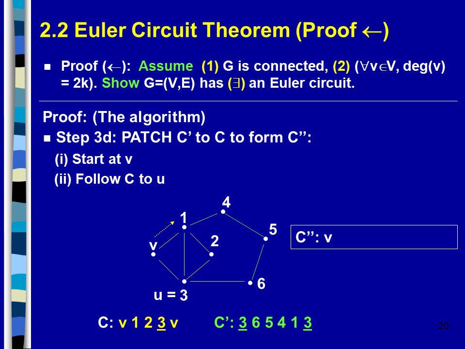 20 2.2 Euler Circuit Theorem (Proof  ) Proof (  ): Assume (1) G is connected, (2) (  v  V, deg(v) = 2k).