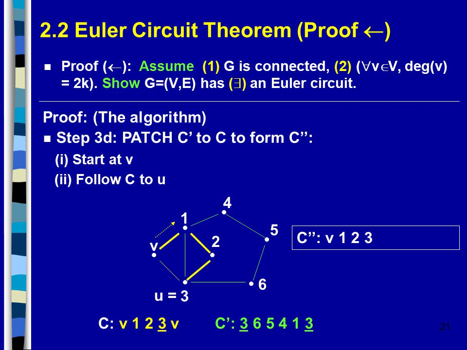 21 2.2 Euler Circuit Theorem (Proof  ) Proof (  ): Assume (1) G is connected, (2) (  v  V, deg(v) = 2k).