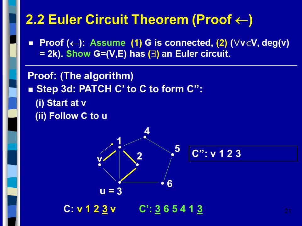 21 2.2 Euler Circuit Theorem (Proof  ) Proof (  ): Assume (1) G is connected, (2) (  v  V, deg(v) = 2k).