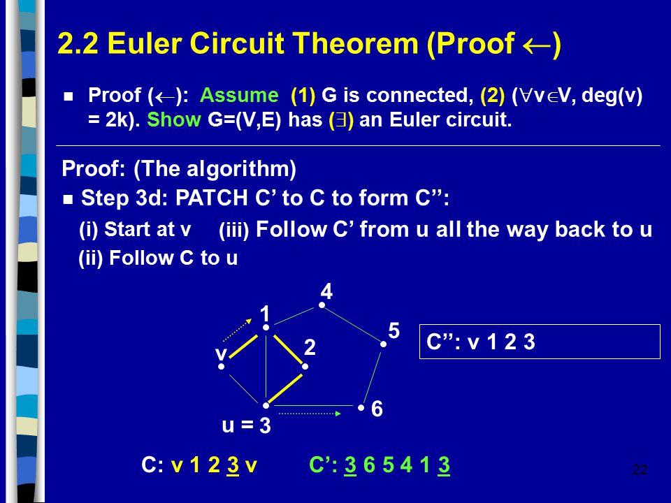 22 2.2 Euler Circuit Theorem (Proof  ) Proof (  ): Assume (1) G is connected, (2) (  v  V, deg(v) = 2k).