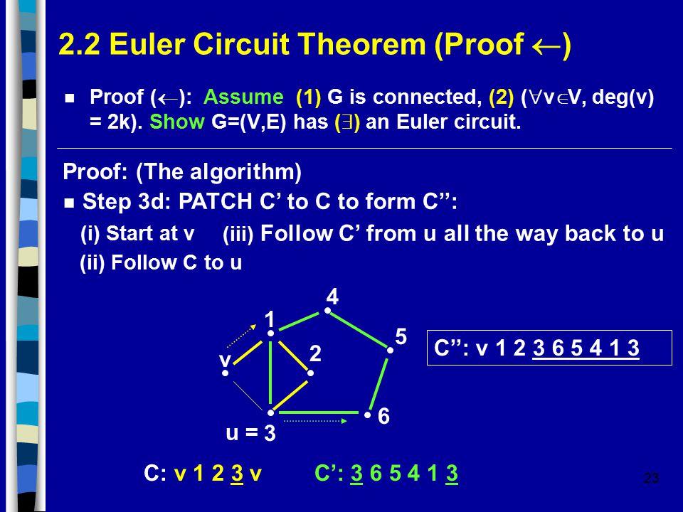 23 2.2 Euler Circuit Theorem (Proof  ) Proof (  ): Assume (1) G is connected, (2) (  v  V, deg(v) = 2k).