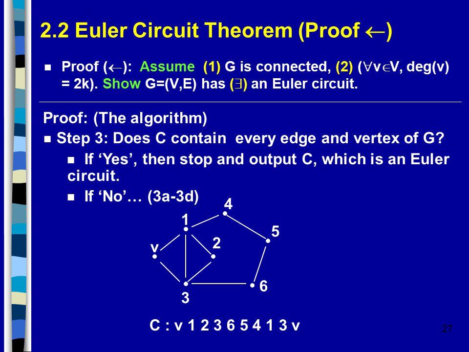 27 2.2 Euler Circuit Theorem (Proof  ) Proof (  ): Assume (1) G is connected, (2) (  v  V, deg(v) = 2k).
