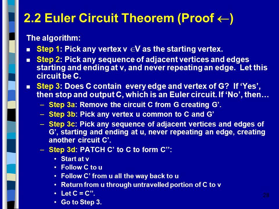 28 2.2 Euler Circuit Theorem (Proof  ) The algorithm: Step 1: Pick any vertex v  V as the starting vertex.