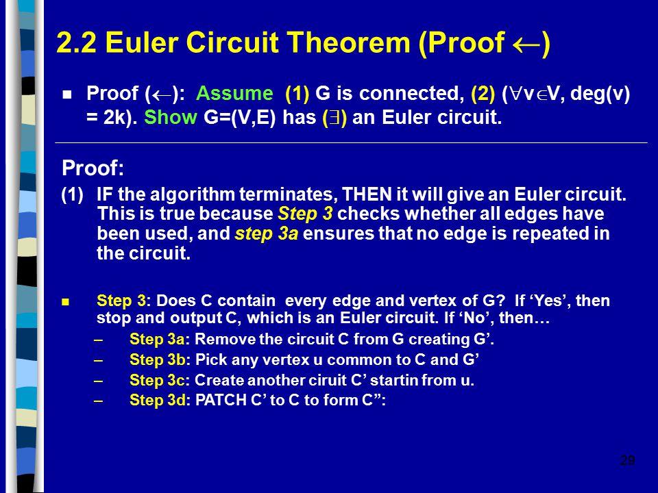 29 2.2 Euler Circuit Theorem (Proof  ) Proof (  ): Assume (1) G is connected, (2) (  v  V, deg(v) = 2k).