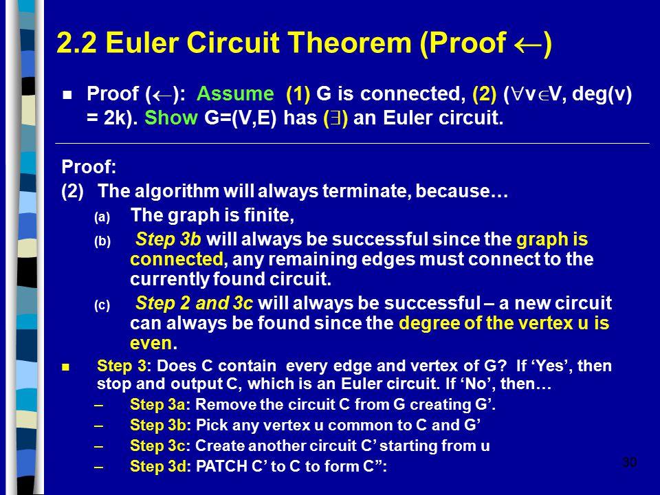 30 2.2 Euler Circuit Theorem (Proof  ) Proof (  ): Assume (1) G is connected, (2) (  v  V, deg(v) = 2k).
