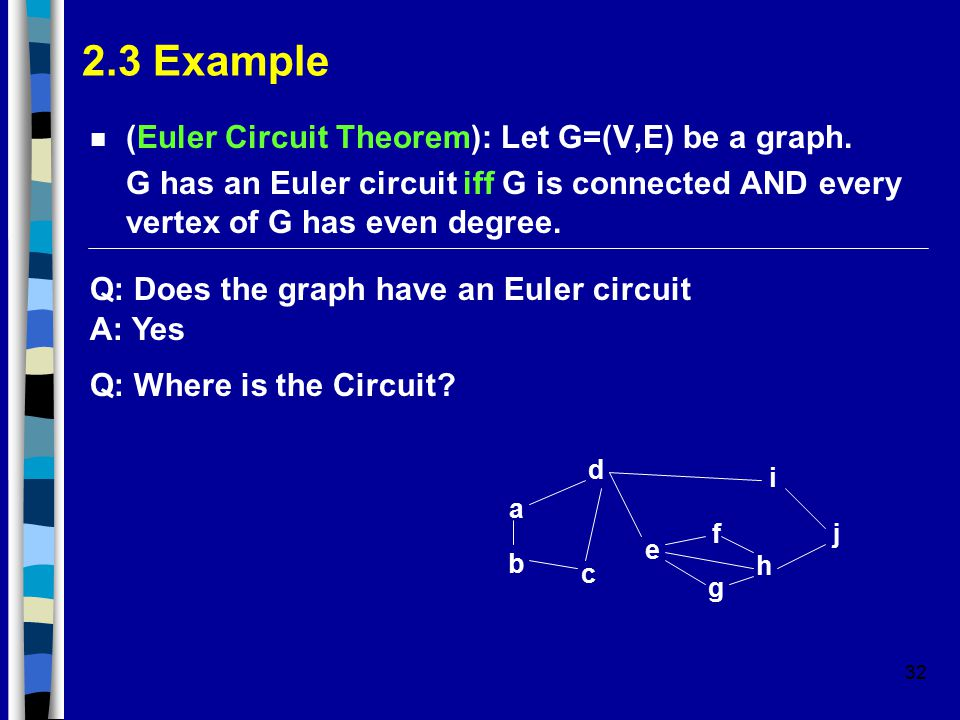 32 2.3 Example n (Euler Circuit Theorem): Let G=(V,E) be a graph. G has an Euler circuit iff G is connected AND every vertex of G has even degree. Q: