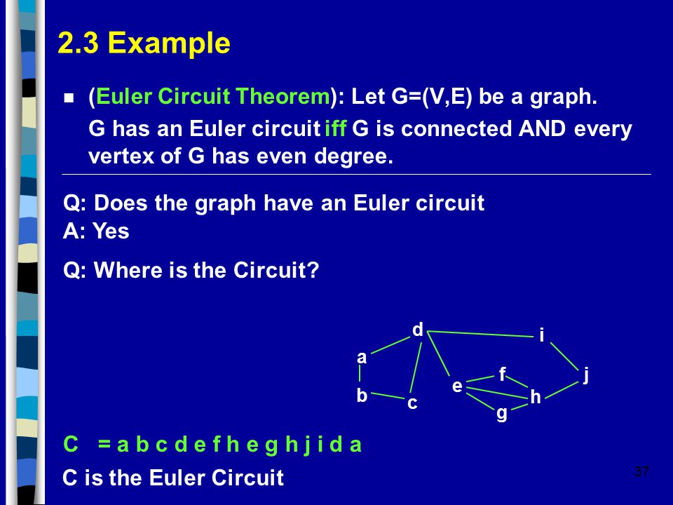 37 2.3 Example n (Euler Circuit Theorem): Let G=(V,E) be a graph. G has an Euler circuit iff G is connected AND every vertex of G has even degree. Q: