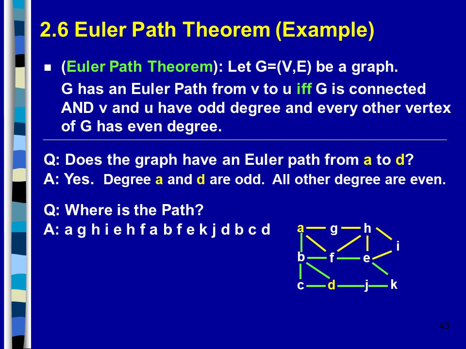 43 2.6 Euler Path Theorem (Example) n (Euler Path Theorem): Let G=(V,E) be a graph. G has an Euler Path from v to u iff G is connected AND v and u hav