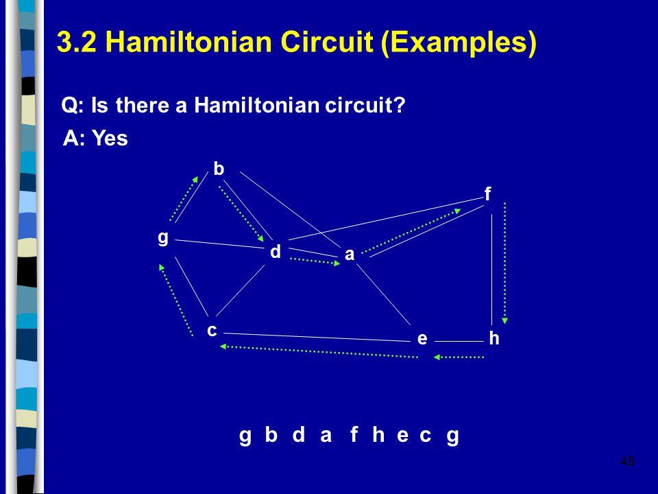 45 3.2 Hamiltonian Circuit (Examples) g b d a f e c h Q: Is there a Hamiltonian circuit.