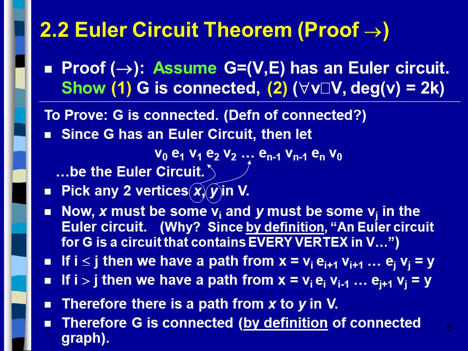 5 2.2 Euler Circuit Theorem (Proof  ) Proof (  ): Assume G=(V,E) has an Euler circuit.