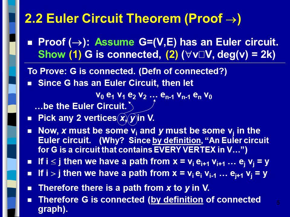 5 2.2 Euler Circuit Theorem (Proof  ) Proof (  ): Assume G=(V,E) has an Euler circuit.