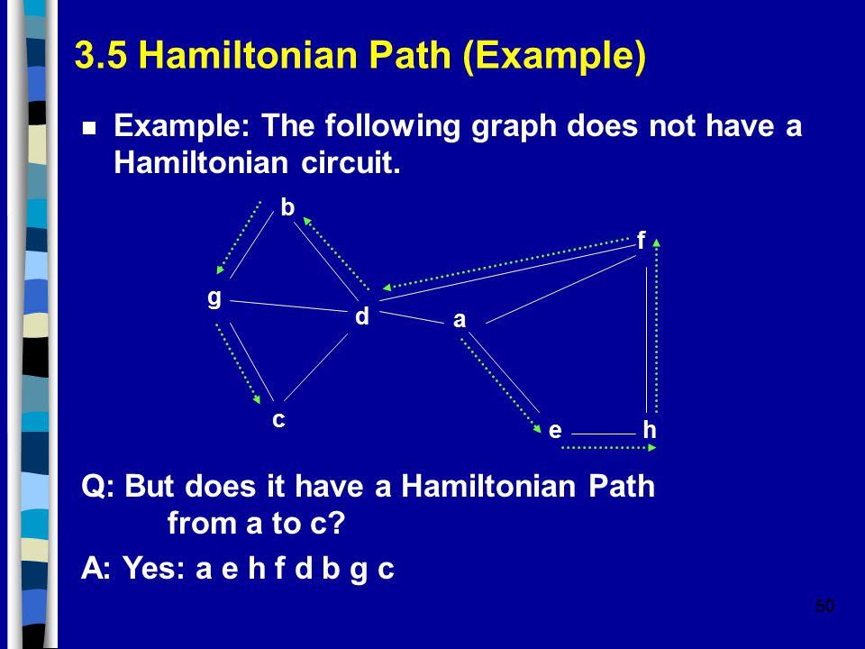 50 3.5 Hamiltonian Path (Example) n Example: The following graph does not have a Hamiltonian circuit.