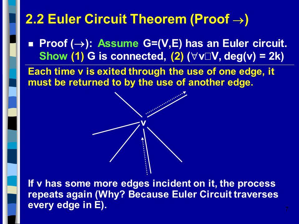7 2.2 Euler Circuit Theorem (Proof  ) Proof (  ): Assume G=(V,E) has an Euler circuit.