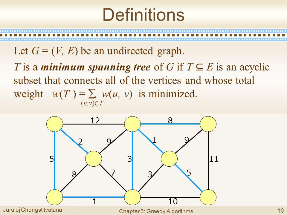 Jaruloj Chongstitvatana Chapter 3: Greedy Algorithms 10 Definitions Let G = (V, E) be an undirected graph.