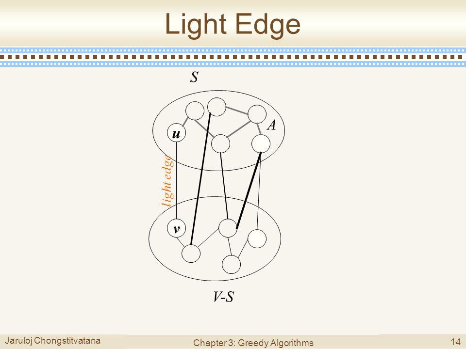 Jaruloj Chongstitvatana Chapter 3: Greedy Algorithms 14 Light Edge u v S V-S A light edge