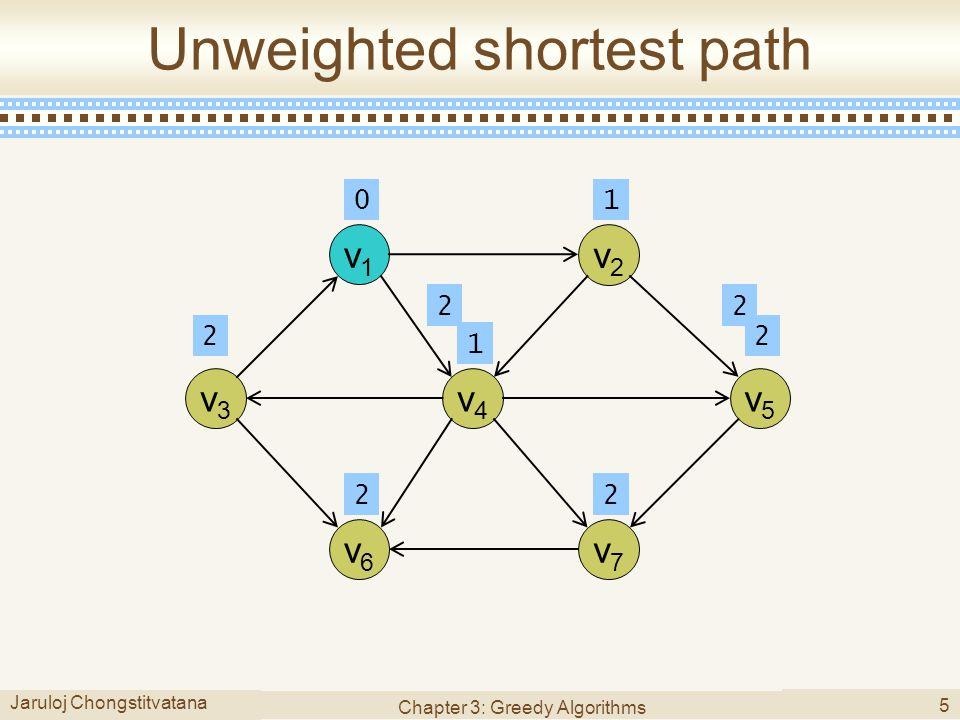 Jaruloj Chongstitvatana Chapter 3: Greedy Algorithms 5 Unweighted shortest path v1v1 v3v3 v4v4 v5v5 v7v7 v6v6 v2v2 01 1 22 22 22