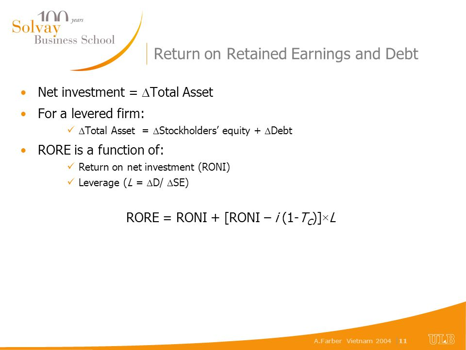 A.Farber Vietnam 2004 | 11 Return on Retained Earnings and Debt Net investment =  Total Asset For a levered firm:  Total Asset =  Stockholders' equ