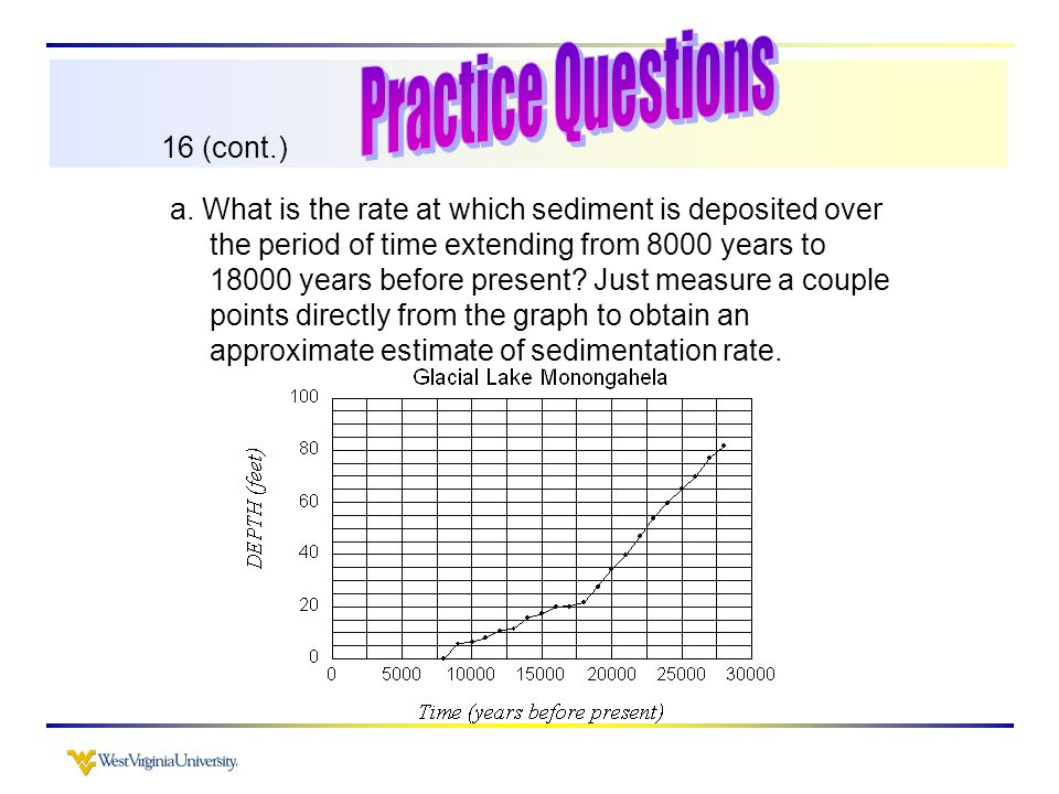 16 (cont.) a. What is the rate at which sediment is deposited over the period of time extending from 8000 years to 18000 years before present? Just me