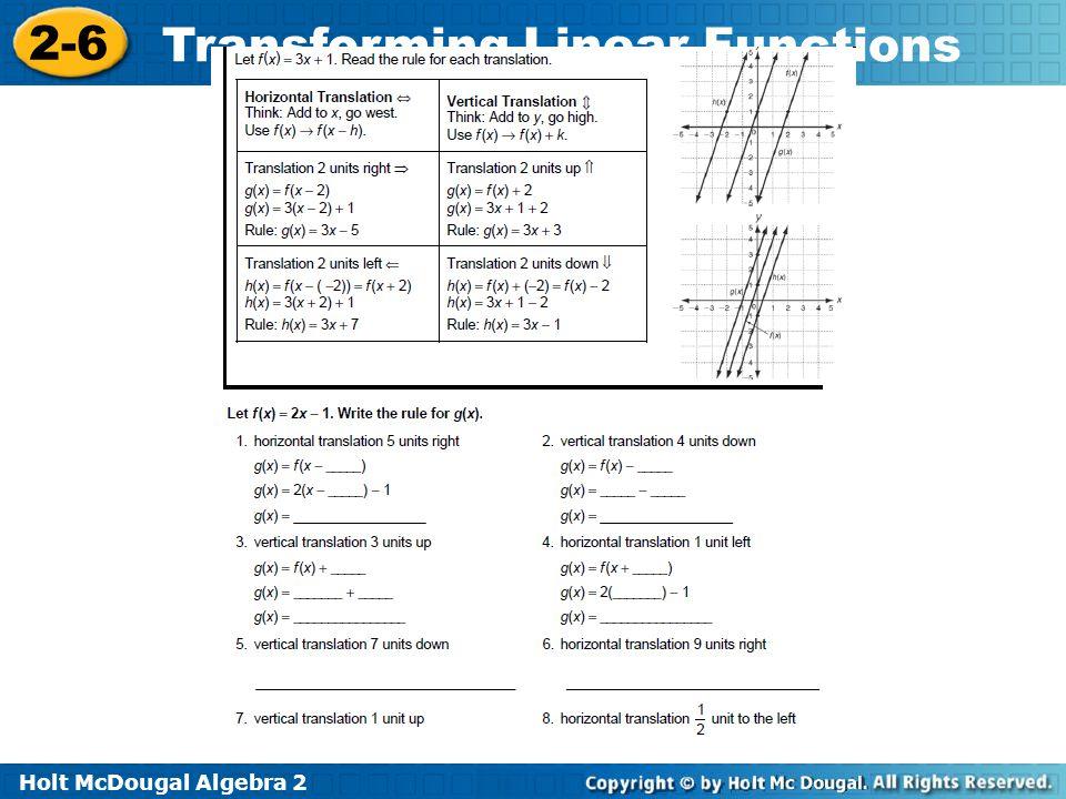 Holt McDougal Algebra 2 2-6 Transforming Linear Functions Re-teach