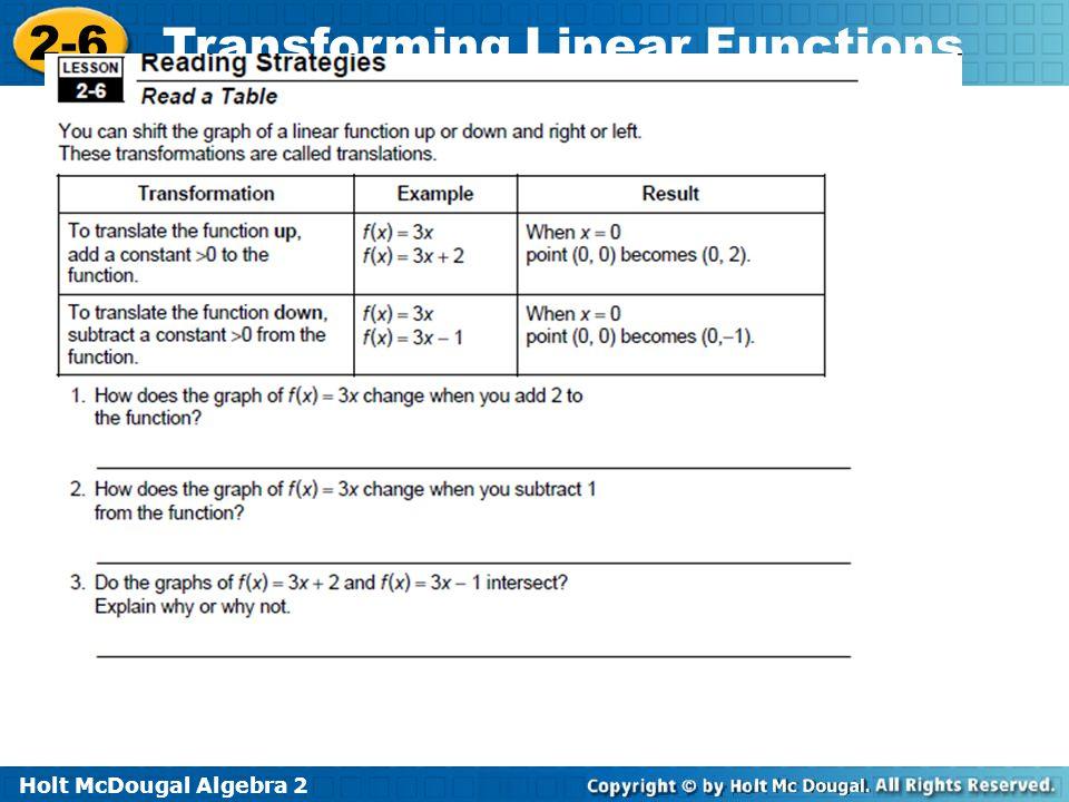 Holt McDougal Algebra 2 2-6 Transforming Linear Functions Reading Strat