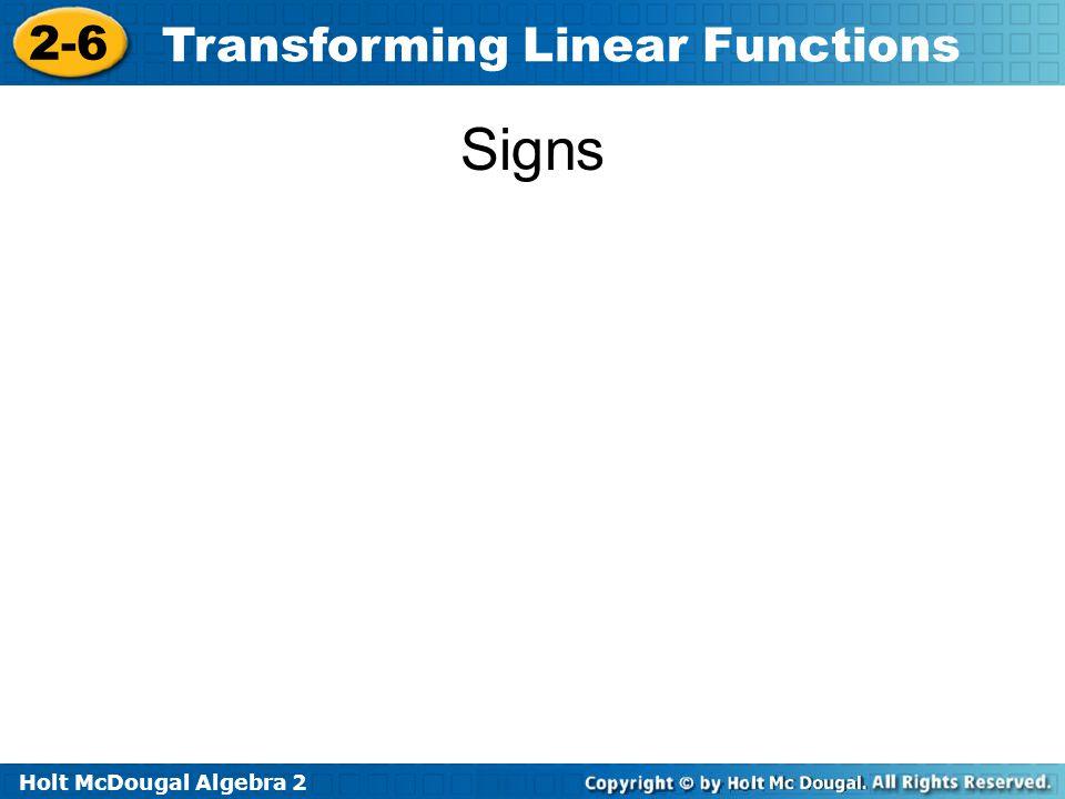 Holt McDougal Algebra 2 2-6 Transforming Linear Functions Signs