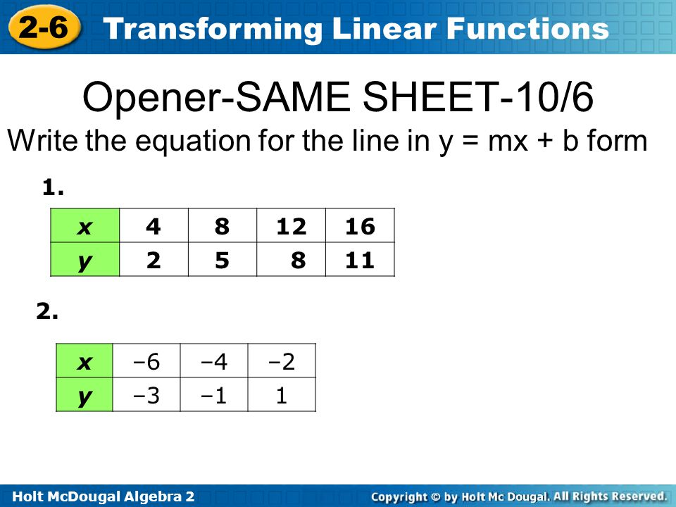 Holt McDougal Algebra 2 2-6 Transforming Linear Functions Opener-SAME SHEET-10/6 Write the equation for the line in y = mx + b form x481216 y25 811 1.