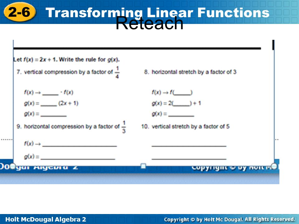 Holt McDougal Algebra 2 2-6 Transforming Linear Functions Reteach