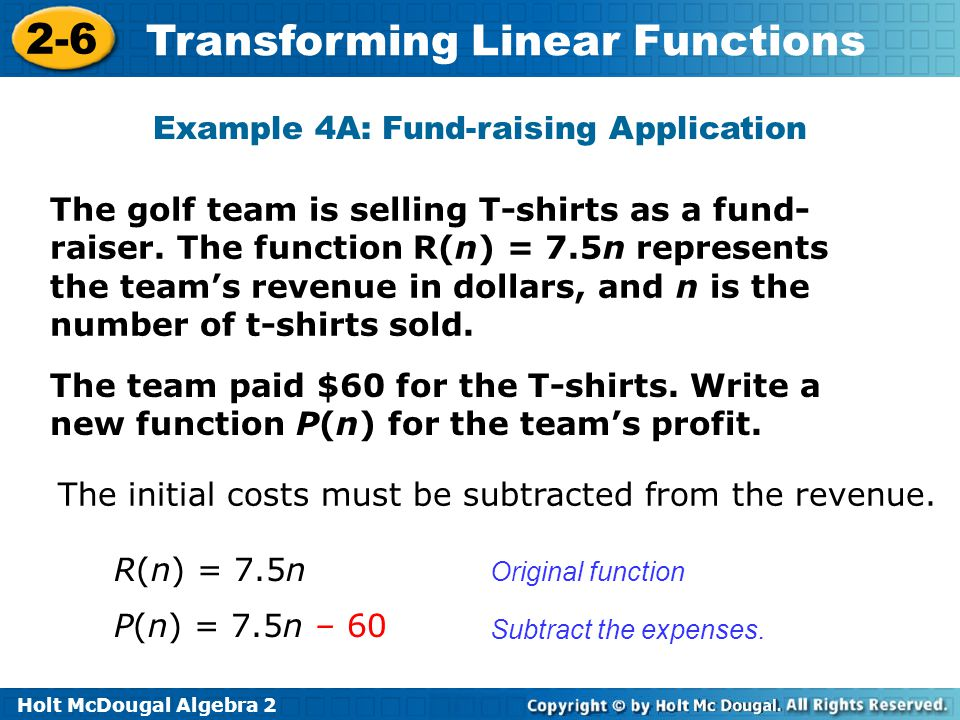 Holt McDougal Algebra 2 2-6 Transforming Linear Functions Example 4A: Fund-raising Application The golf team is selling T-shirts as a fund- raiser. Th